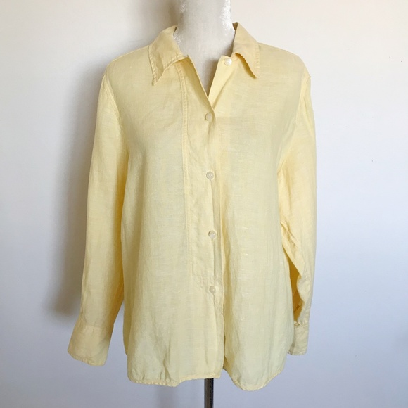 b8c30097b J. Jill Tops | J Jill 100 Linen Button Down Shirt Yellow Xl | Poshmark